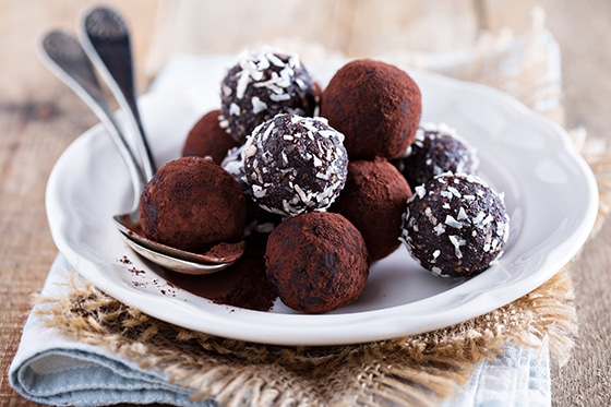 Healthy chocolate truffles with nuts and dates
